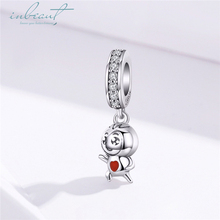 inbeaut Hot Sale 100% 925 Sterling Silver White CZ fit Pandora Bracelet Little Hero Charms Red Enamel Playing Girl Bangle Beads