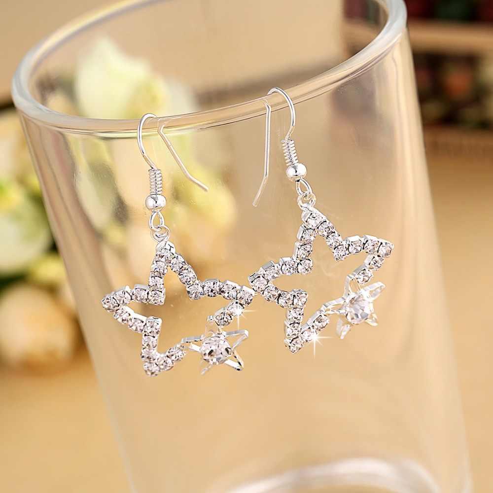 Hesíodo Folha de Cor Prata Mulheres Brincos de Cristal Cheio de Longo Borla Brincos de Pingente de Estrela para o Casamento Romântico Presentes De Natal