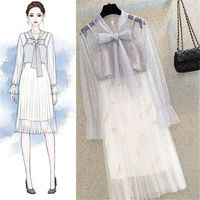 New Summer Women Suits Girls Cute Sequined Hollow Out Blouse + Pleated Mesh Skirt Set Outfits Female Elegant Two Piece Sets F04