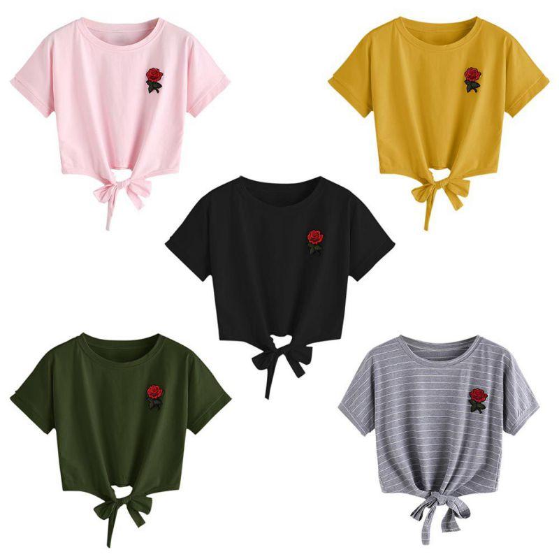 HTB18yuQSpXXXXbKXpXXq6xXFXXXa - Embroidery Rose Short Sleeve Tops Tees JKP110
