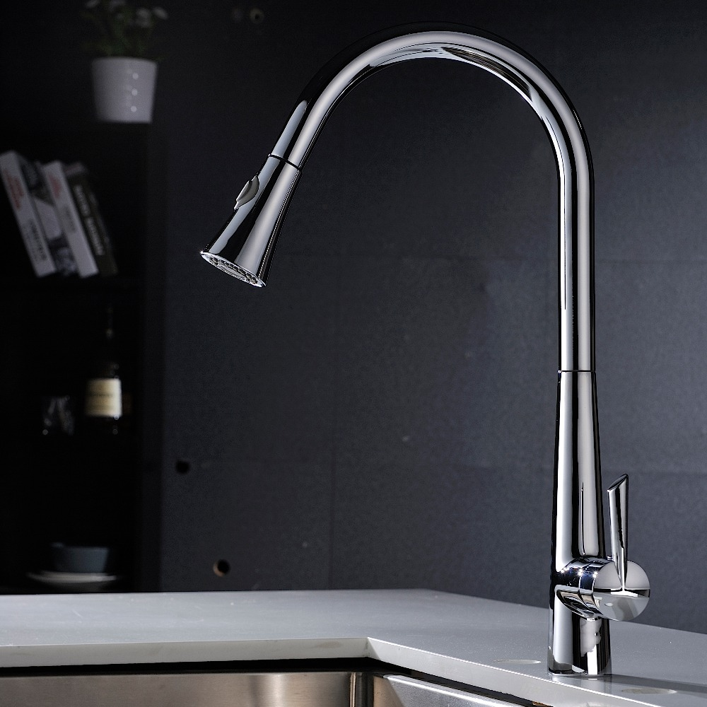 Put Out Kitchen Faucet  Brass  Pull Down Dual Spray Control  Sink Tap with Hot and Cold Water Holes  ,Polished Chrome kitchen chrome plated brass faucet single handle pull out pull down sink mixer hot and cold tap modern design