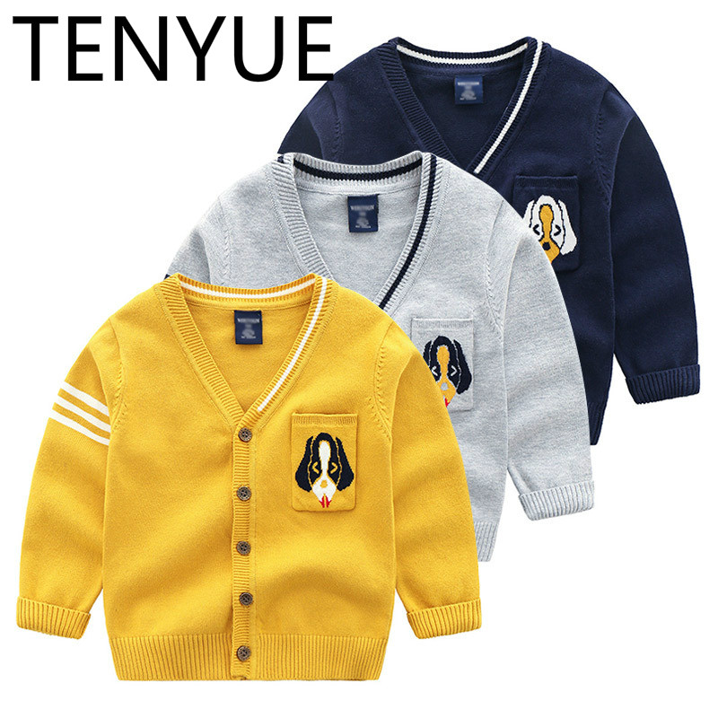 TENYUE, 2018 Autumn Casual Children's Sweater, Cardigan, Baby Cartoon Style Top, Bright Color Woolen Sweate cartoon airplane style red