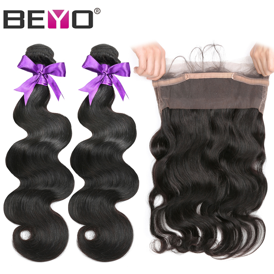 360 Lace Frontal With Brazilian Body Wave Bundles 3pcs Lot Human Hair Bundles With Frontal Closure