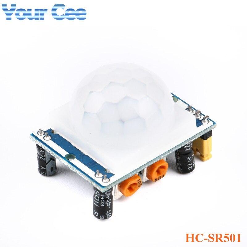 10 sztuk HC-SR501 regulacja IR piroelektryczny czujnik podczerwieni PIR czujnik ruchu ludzkiego detektor moduł DC 5 V-20 V
