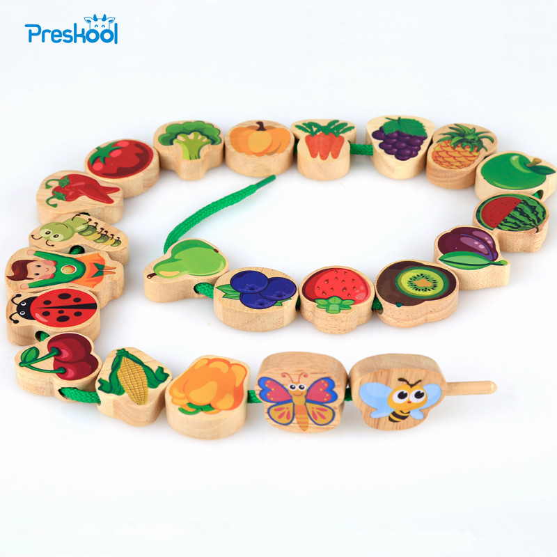 Montessori Kids Toy Baby 24 Pcs Colorful Wood Lacing Beads String Learning Educational Preschool Training Brinquedos Juguets new wooden baby toys montessori wood divide a round into 1 10 parts learning educational preschool training baby gifts