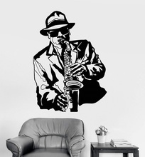Vinilo aplique de pared jazz música músico negro africano hombre pegatina bar nightclub poster home art design decoration 2YY14