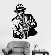 Vinyl wall aplikacja jazz muzyk muzyka czarny afrykański człowiek naklejka bar klub nocny plakat home artystyczny design dekoracja 2YY14