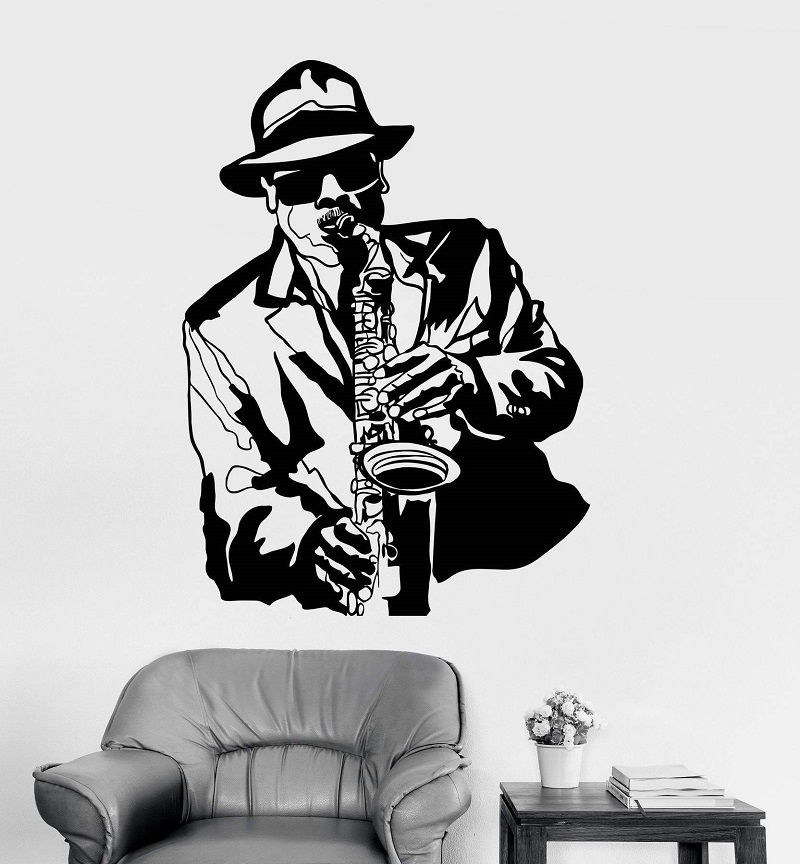 Vinyl wall applique jazz musician music black african man sticker bar nightclub poster home art design decoration 2YY14-in Wall Stickers from Home & Garden