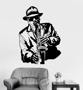Image 1 - Vinyl wall applique jazz musician music black african man sticker bar nightclub poster home art design decoration 2YY14