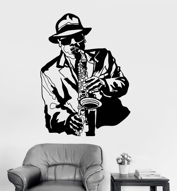 Vinyl wand applique jazz musiker musik schwarz afrikanische mann aufkleber bar nachtclub poster home art design dekoration 2YY14