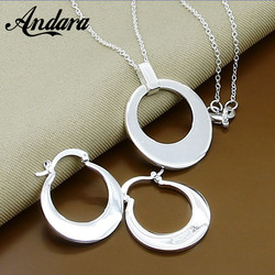 2019 New Jewelry Sets 925 Sterling Silver Fashion Moon Pendant Necklace Earrings for Women Jewelry Gift