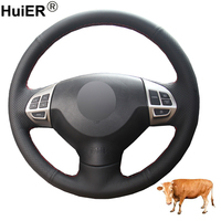 Hand Sewing Car Steering Wheel Cover Top Cow Leather For Mitsubishi Lancer X 10 2007 2015 Outlander 2006 2012 2013 ASX 2010 2013
