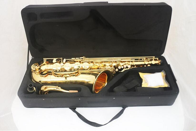 Gold lacquer tenor saxophone Reference 54 saxophone instruments Golden jazz style free shipping new high quality tenor saxophone france r54 b flat black gold nickel professional musical instruments