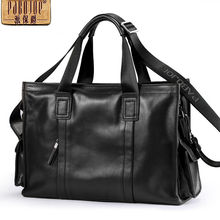 Pabojoe 100% Genuine Leather Mens Handbags Business Briefcase 14inch Laptop Computer Holder