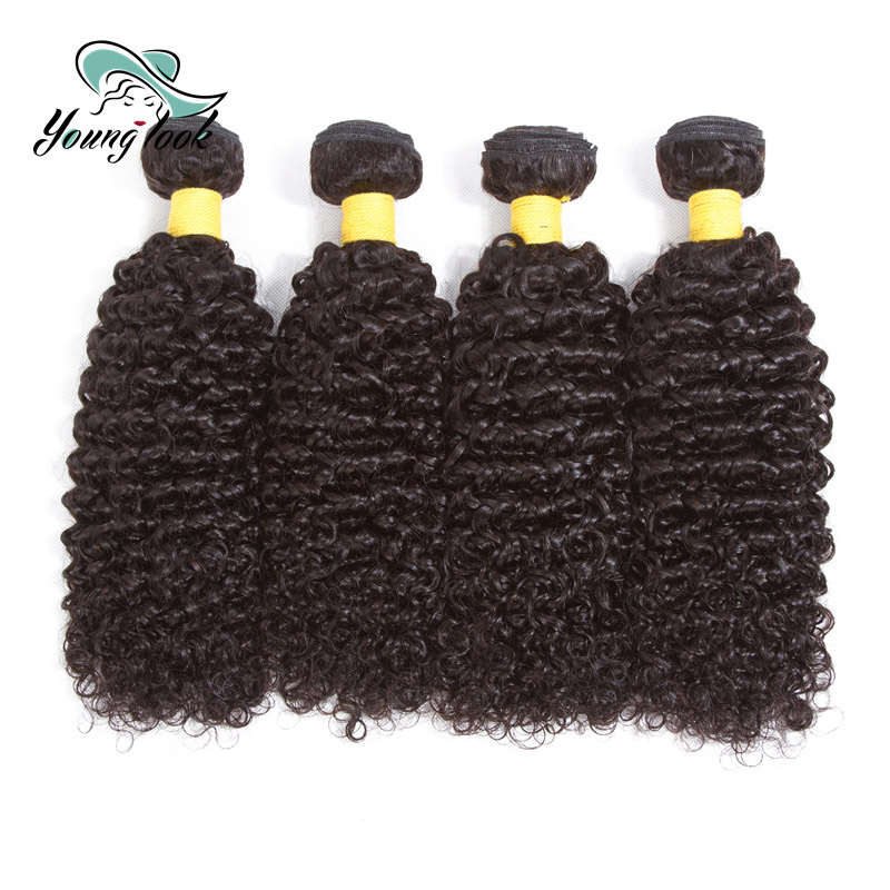 Young Look Brazilian Kinky Curly 100% Human Hair Bundles 4 Bundles Hair Weave Natural Color Free Shipping Hair Extensions