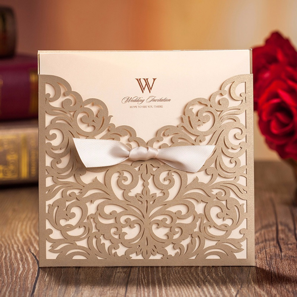 100pcs Gold Square Laser Cut Wedding Invitations Engagement Marriage Birthday Cards with Bow Hollow Custom Print