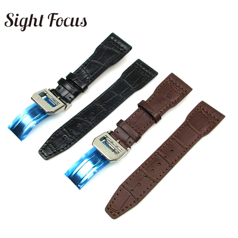 цена 22mm Black Brown Watch Bands Strap for IWC Watch Accessories Pilot Black Brown Strap Men wth Deployant Clasp Relogio Hombre Male