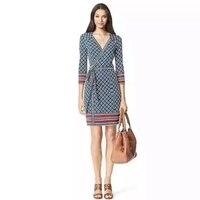 Женская одежда 2019 элегантный шелк платье мода lingge паланкин с принтом Вадим с длинным рукавом офисные женская одежда boho