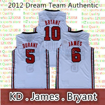 Authentic 2012 usa dream team jersey Bryant Lebron James LBJ Kevin Dunant  KD usa dream Basketball White Jersey 2012 93cb202c3a1b
