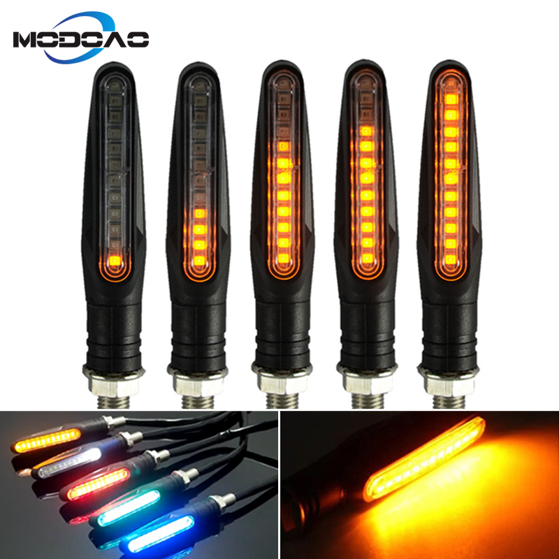 2018 Newest 2pcs Universal Motorcycle LED Flexible Turn Signal Indicator Amber Light  Flicker Bendable Tail Indicator Flasher