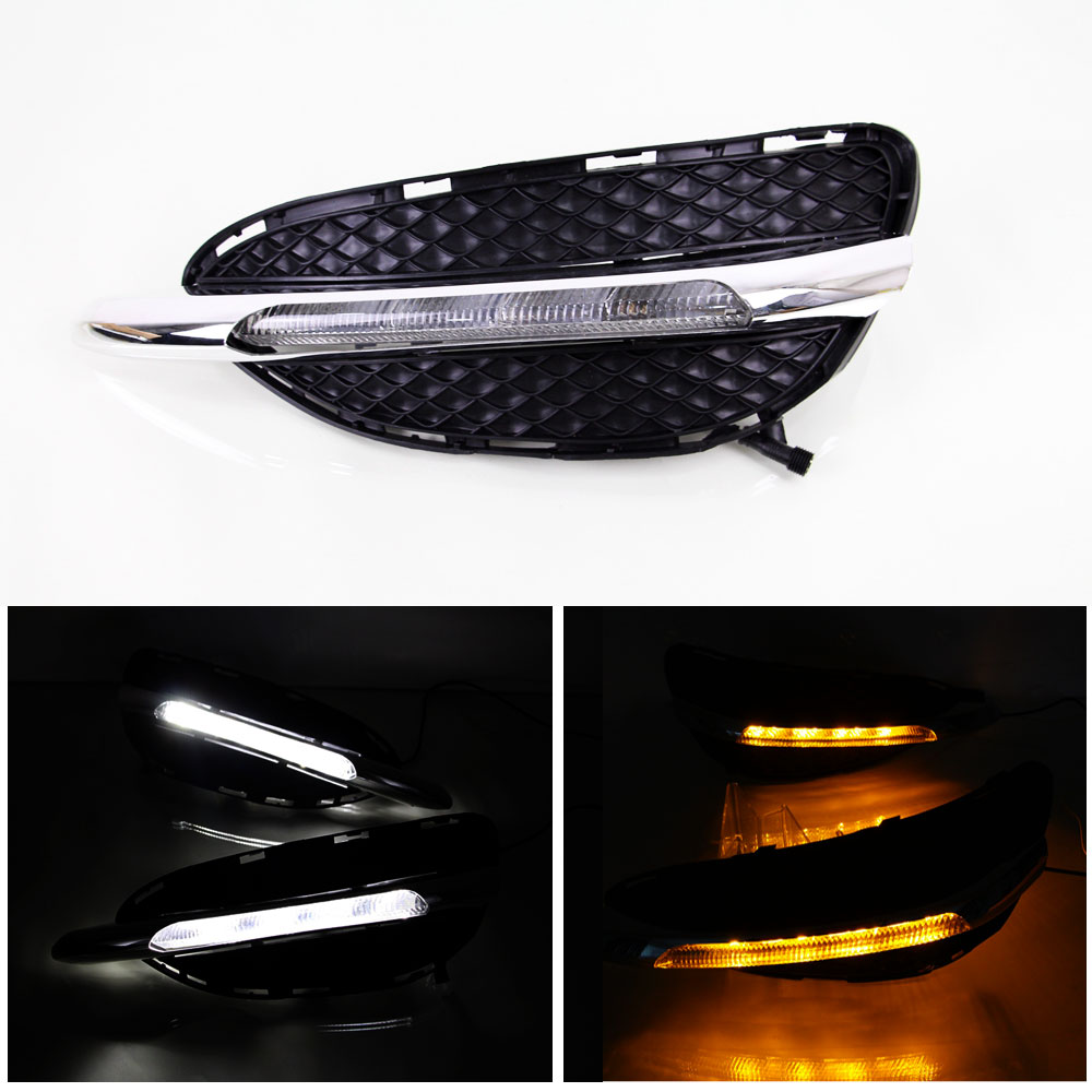 DRL Daytime Running Light Daylight for Mercedes Benz W212 E Class E180 E200 E260 E320 E400 2014 2015 Car Styling Chrome Cover zhaoyanhua car floor mats for mercedes benz w169 w176 a class 150 160 170 180 200 220 250 260 car styling carpet liners 2004