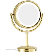 Гурун 10x/1x Увеличение зеркало для макияжа с светодиодный свет двойная сторона круглое Хрустальное стекло напольное зеркало с золотой отделкой, M2208DJ