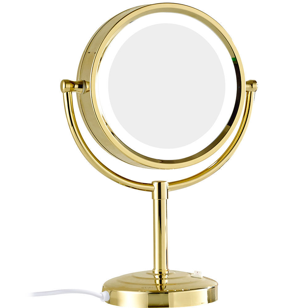 GURUN 10x 1x Magnification Makeup Mirror with LED Lights Double Side Round Crystal Glass Standing Mirror