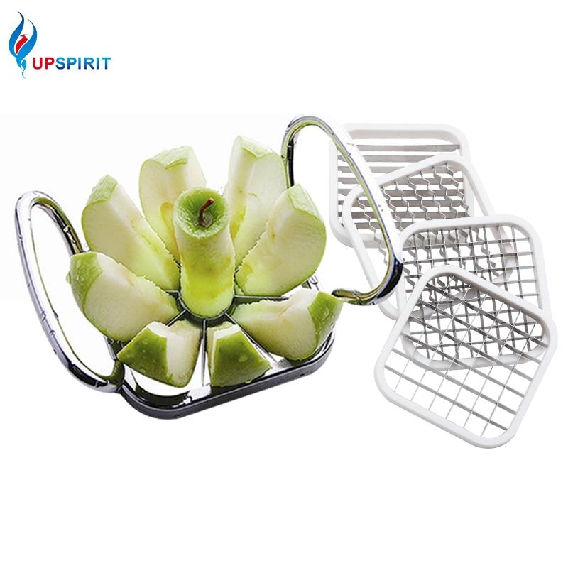 Upspirit Acier Inoxydable Apple Cutter Trancheuse Légumes Fruits Broyeurs Coupe De Croustilles Manuel Bande Chopper Cuisine Outils