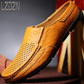 The hollow men's personality lazy summer breathable leather sandals slippers half Baotou Mens summer sandals for men