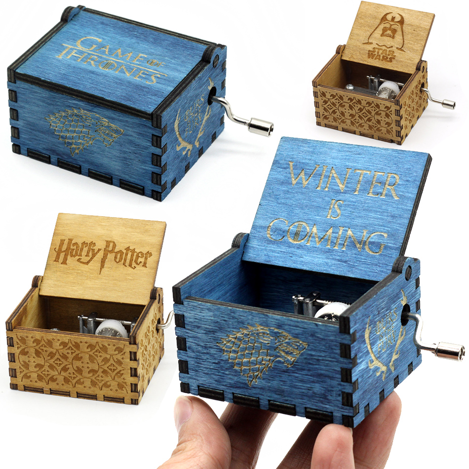Antique Carved Wood Star Wars Harry Potter Game of Thrones Music Box Hand Crank Theme Music Welcome to sell friends cooperation mozart s music of friends