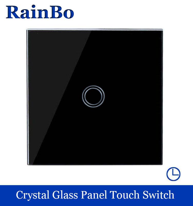 Touch Switch Screen Crystal Glass Panel Switch EU Wall Switch 250V Wall Light Switch 1 way Black for LED Lamp rainbo A1911XDSB touch smart home switch screen white crystal glass panel switch eu wall switch ac250v wall light switch 1 gang 1 way rainbo