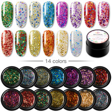 Mengkilap Payet Glitter Uv Gel Varnish Bersinar Shimmer Top Basis Gel Lacquer Primer Gel Manicure Kuku 14 Warna(China)