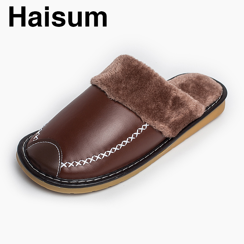 Men 's Slippers Winter Pu Leather Home Indoor Non - Slip Thermal Slippers 2018 New Hot Haisum H-8831 plush home slippers women winter indoor shoes couple slippers men waterproof home interior non slip warmth month pu leather