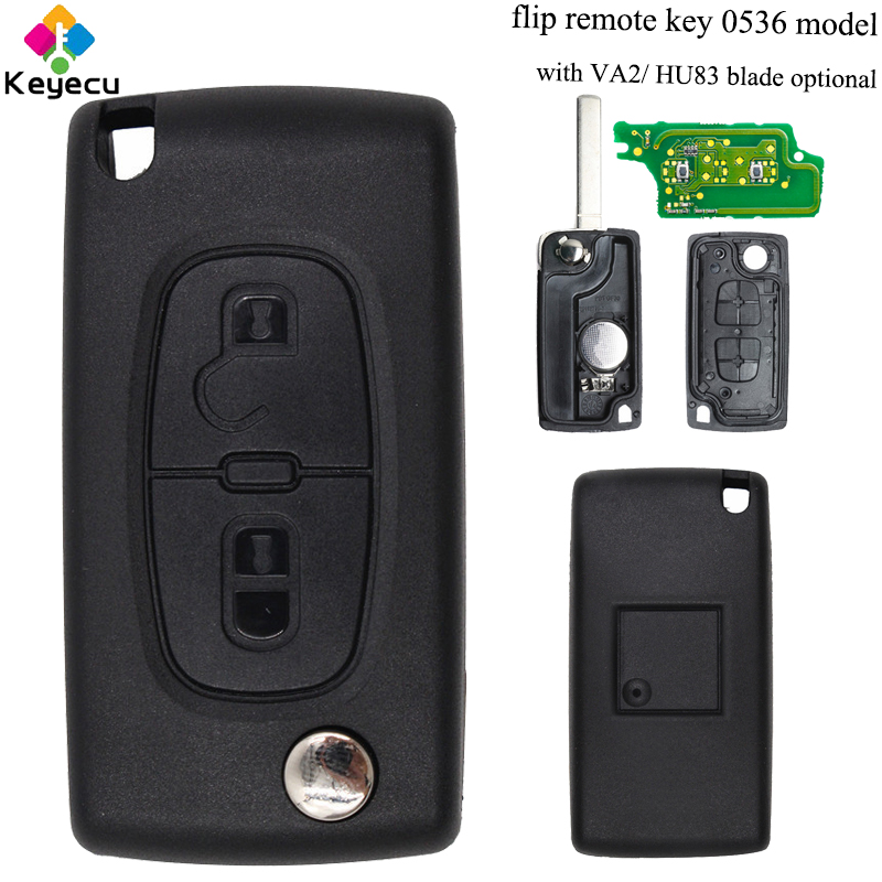 KEYECU Replacement Flip Remote Control Car Key - 2 Buttons & 433MHz & ID46 Chip - FOB for <font><b>Peugeot</b></font> 307 Model: <font><b>0536</b></font> Up To 20110416 image