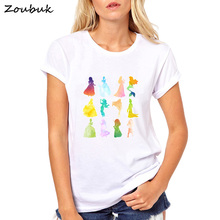 c80baef28b08 VOGUE punk princess SilhouetteT Shirt women 2018 summer fashion t-shirt  watercolor print short sleeve
