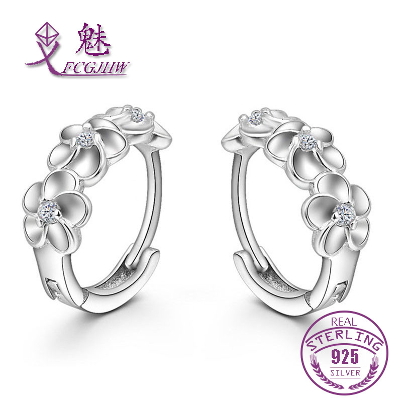 Hoop Earrings for Women Jewelry 925 sterling silver Flowers Fine Trendy for girls Christmas Gift Party Korean Style 2017
