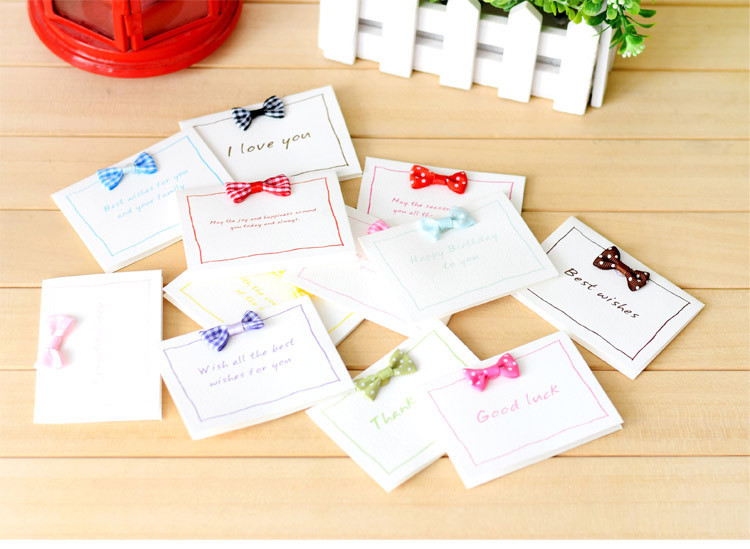 Wholesale 50pcslot Kawaii Bow Greeting Cards Goodluckbest Wishes