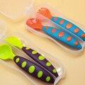Utensílios de Mesa do bebê Colorido PP Material Seguro Bebe Colher + Garfo Anti-Skid 2 pcs Pratos Qualidade TPE Punho Da Criança Talheres aprendizagem