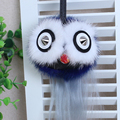 Envío gratis 2017 Italia nuevo estilo cola de zorro de piel de Cabra bola del rhinestone eyes owl mujeres bolsa de moda titular de la clave de cumpleaños regalo