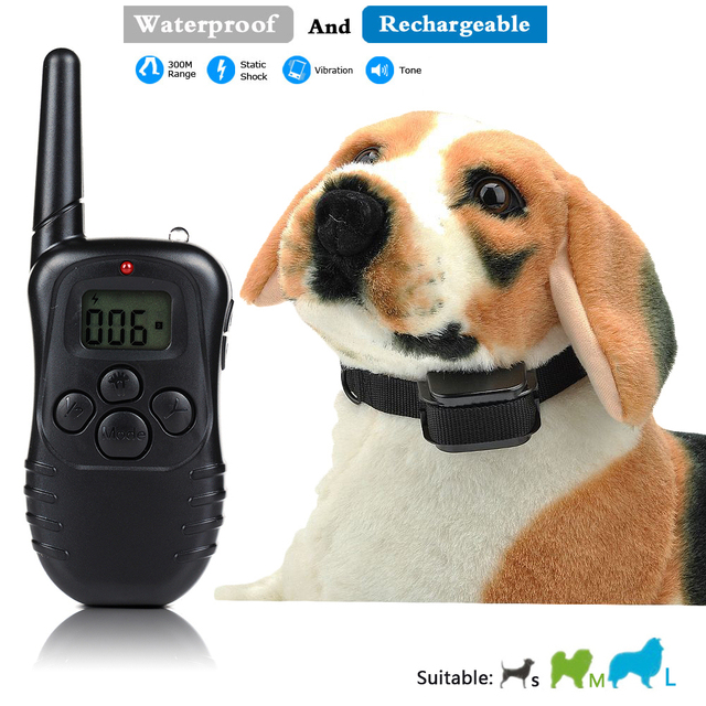 Rechargeable and Waterproof 300meters Remote Electric Shock Anti-bark Pet Dog Training Collar with LCD display for 1 dog
