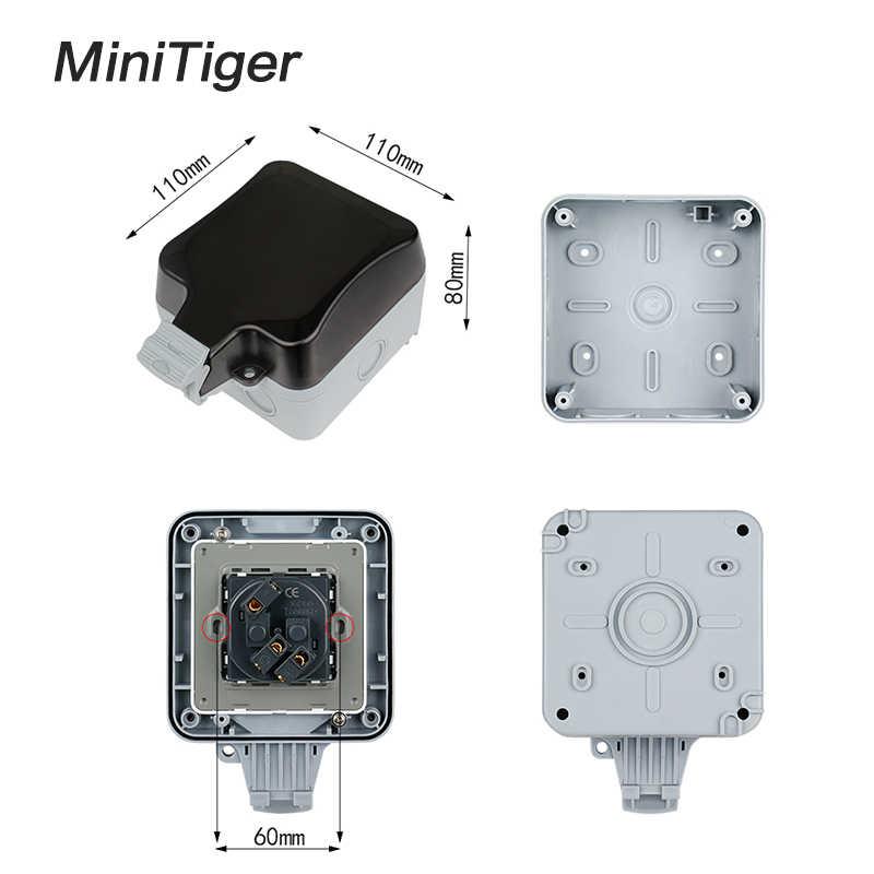 Minitiger IP66 odporne na warunki atmosferyczne wodoodporny zewnątrz ścienne gniazdo zasilające 16A ue standardowy uziemione gniazdka elektrycznego AC 110 ~ 250 V