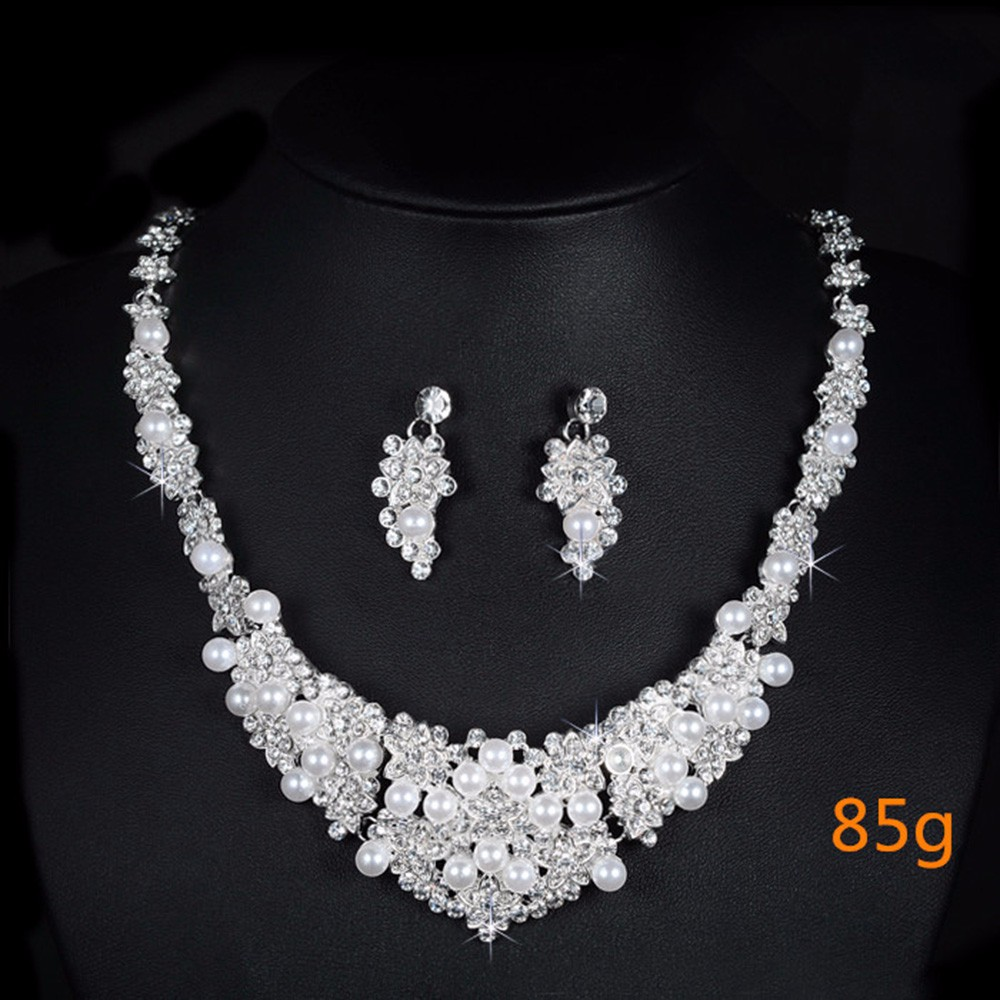 high quality austria crystal jewelry sets for women wedding engagement gifts ladies silver plated chains bridal necklace earrings flowers D019 (5)