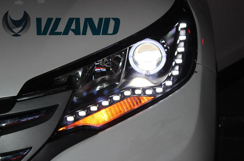 VLAND manufacturer for Car head lamp for CRV 2012 2013 2014 2015 2016 LED Headlight with Angel Eyes DRL and xenon lamp