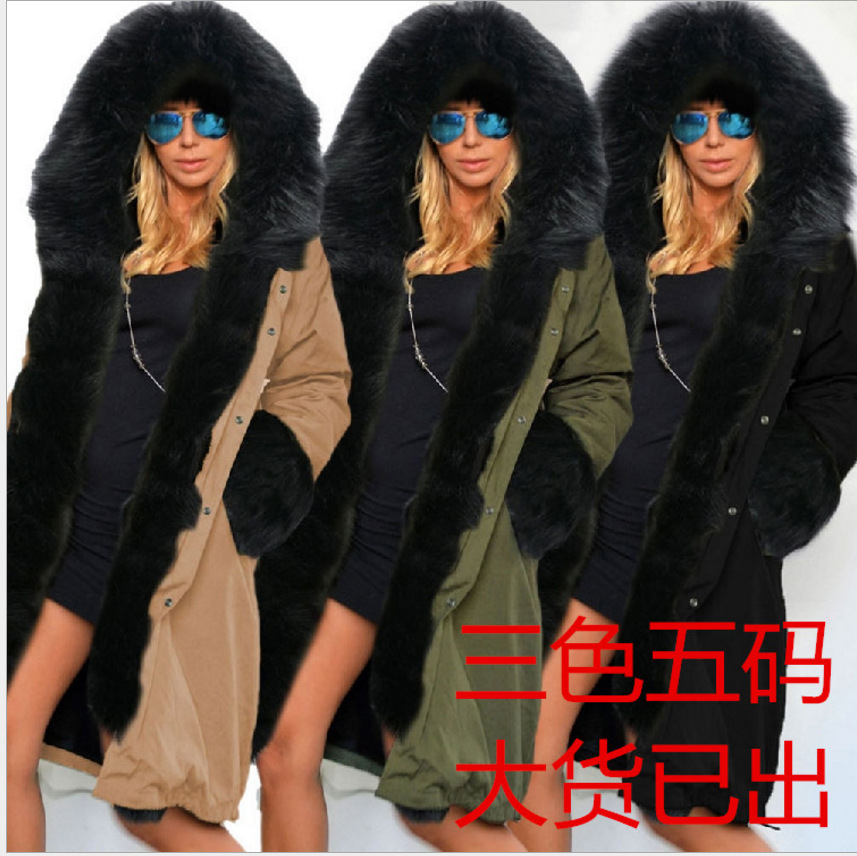 Ukraine Direct Selling Polyester Solid Zipper Thick Full Broadcloth 2016 New Winter Warm Outerwear Long Slim