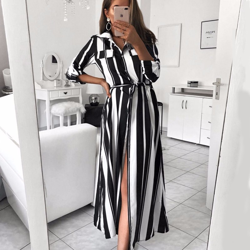 1529c9de0 BEFORW 2018 Office Lady Turn Down Collar Button Lace Up Long Shirt Dress  Women Autumn Winter Long Sleeve Stripe Maxi Dresses-in Dresses from Women's  ...