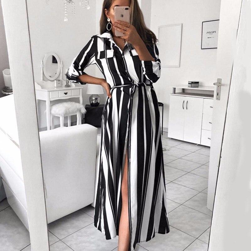 931f0f4e763 DeRuiLaDy 2018 Women Autumn Winter Striped Long Shirt Dress Fashion Turn  Down Collar Button Long Sleeve Lace Up Maxi Dress-in Dresses from Women s  Clothing ...