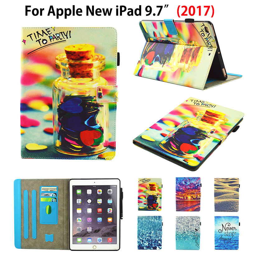 Fashion Painting Flip Cover For Apple New iPad 9.7 2017 A1822 Case Funda Tablet Silicone PU Leather Stand Skin Shell +Film+Pen case cover for goclever quantum 1010 lite 10 1 inch universal pu leather for new ipad 9 7 2017 cases center film pen kf492a