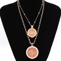 Vinnie Projekt Biżuteria Różowe Złoto Wisiorek Zestaw to 2 sztuk Uchwyt na Monety, 2 sztuk Nieskończoność Miłość Monety, 80 cm i 45 cm Łańcuch Rolo Link