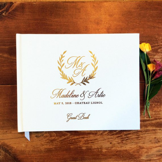 Customized Wreath Gold Foil Unique Wedding Guest Books Guestbook Alternative Customwedding Rustic Memory Keepsake Guest Book