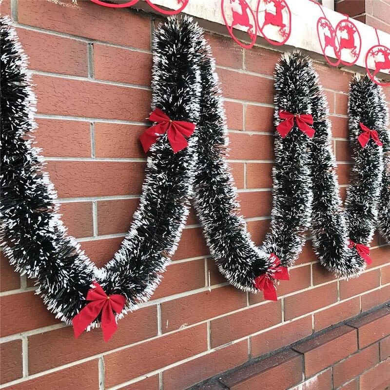 Светящаяся лента 2 м, гирлянда, украшения для рождественской елки, белая, темно-зеленая трость, мишура, товары для рождевечерние
